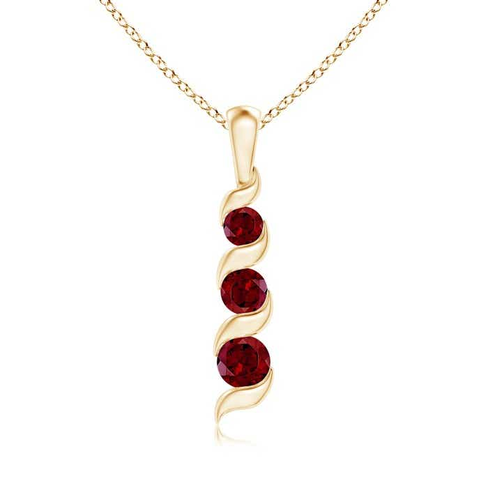 Angara Round Garnet Necklace in Yellow Gold 6iONmG