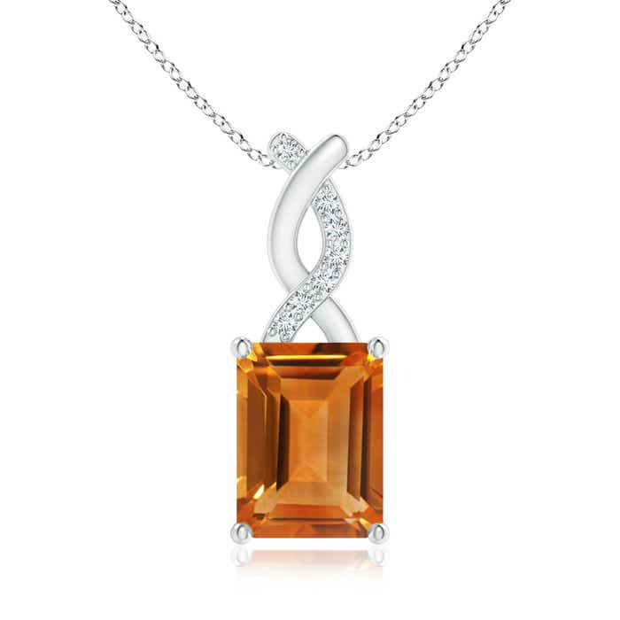 Angara Emerald-Cut Citrine Pendant with Diamond Trio m9dBo