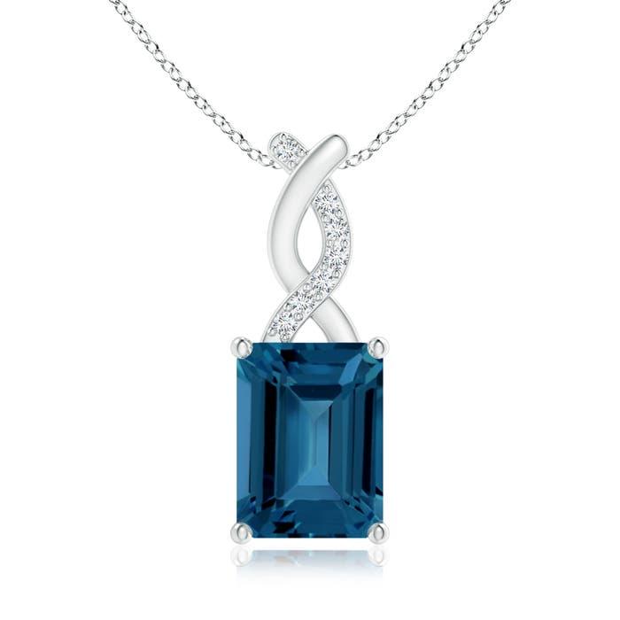 Angara Emerald-Cut London Blue Topaz Solitaire Pendant with Diamond IyR6W
