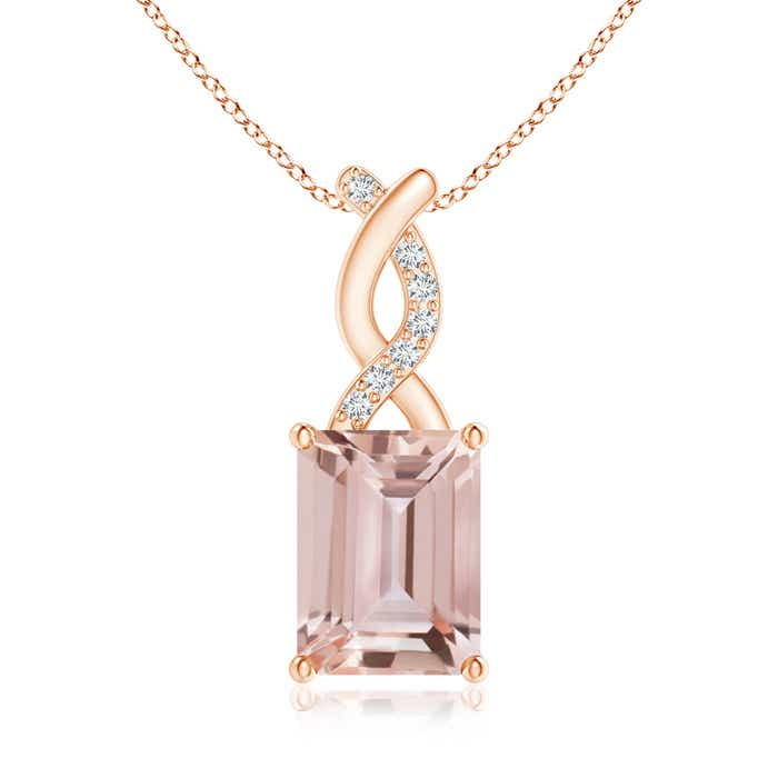 Angara Emerald-Cut Morganite Halo Pendant with Diamond Accents BJUC2b9zHl