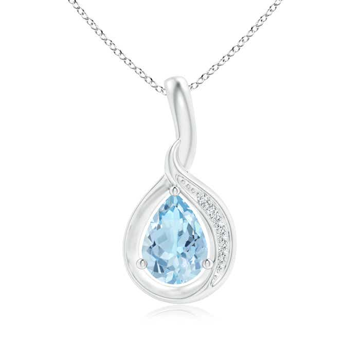 Angara Pear Shaped Aquamarine Pendant in Rose Gold 6uJMeL