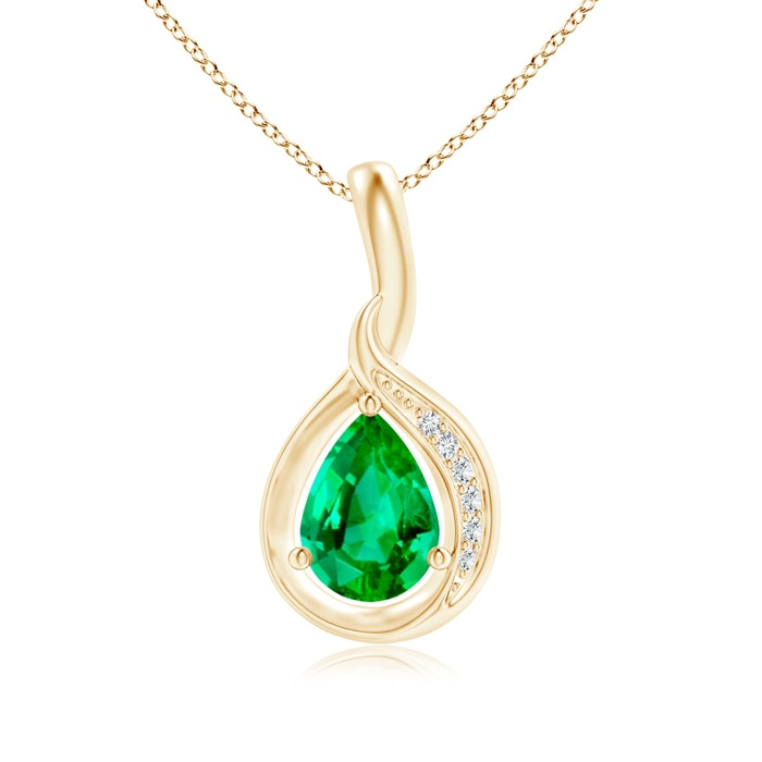 Angara Pear-Shaped Emerald and Diamond Loop Pendant fmbrl