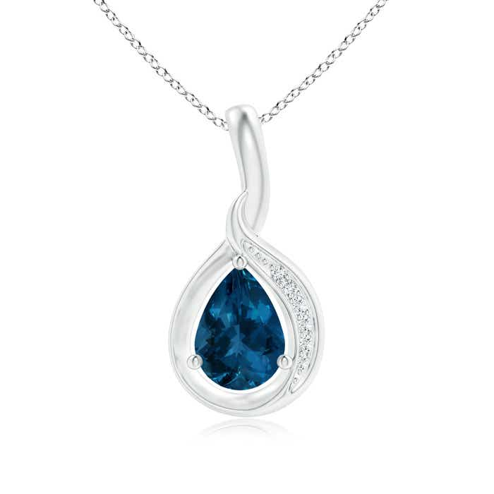 Angara Pear-Shaped Blue Sapphire and Diamond Loop Pendant AB91p9qd1