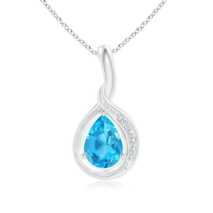 Angara Pear Drop Swiss Blue Topaz and Diamond Pendant in White Gold 1Ln4RH2