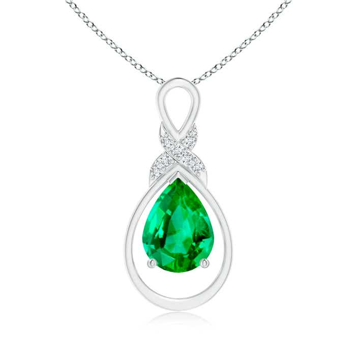 Angara Emerald Infinity Pendant with Diamond X Motif