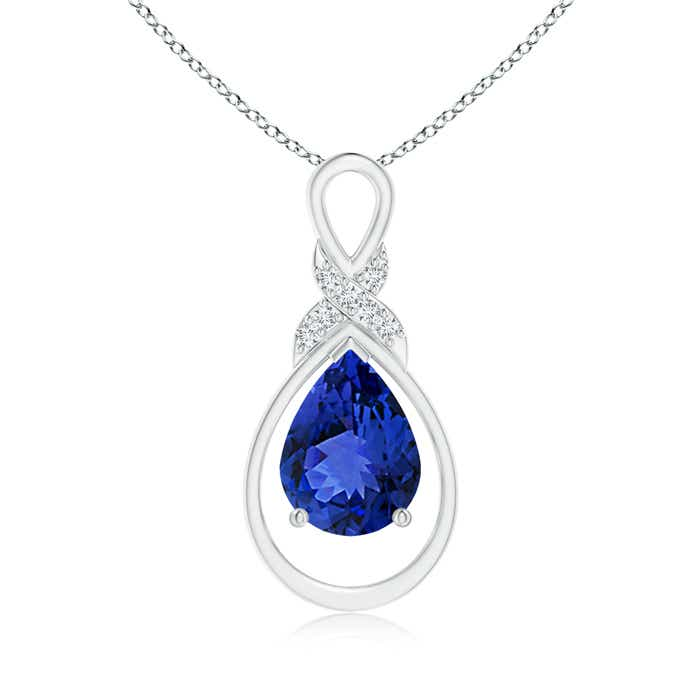 Angara Square Tanzanite Necklace with Diamond Halo in 14K Yellow Gold smT5a