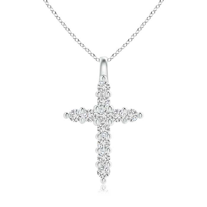Angara Floating Round Diamond Dotted Cross Pendant 6mO18