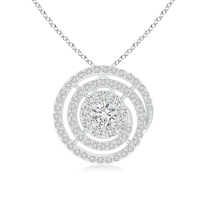 Angara Round Aquamarine and Diamond Circle Necklace in White Gold y5hX6S
