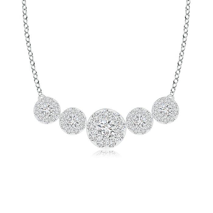 Angara Graduated Diamond Halo Pendant Necklace in Yellow Gold VwG7mM