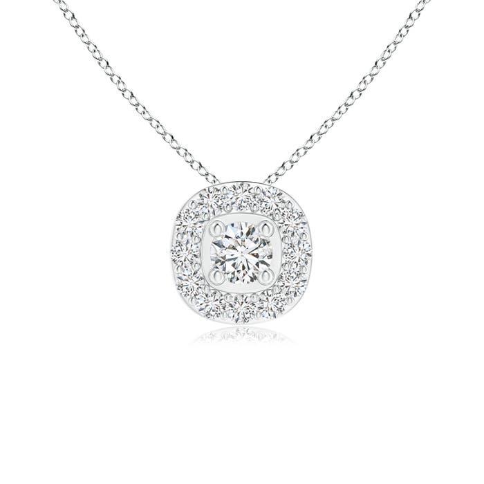 Angara Round Diamond Necklace with Halo 75vCZ2cV