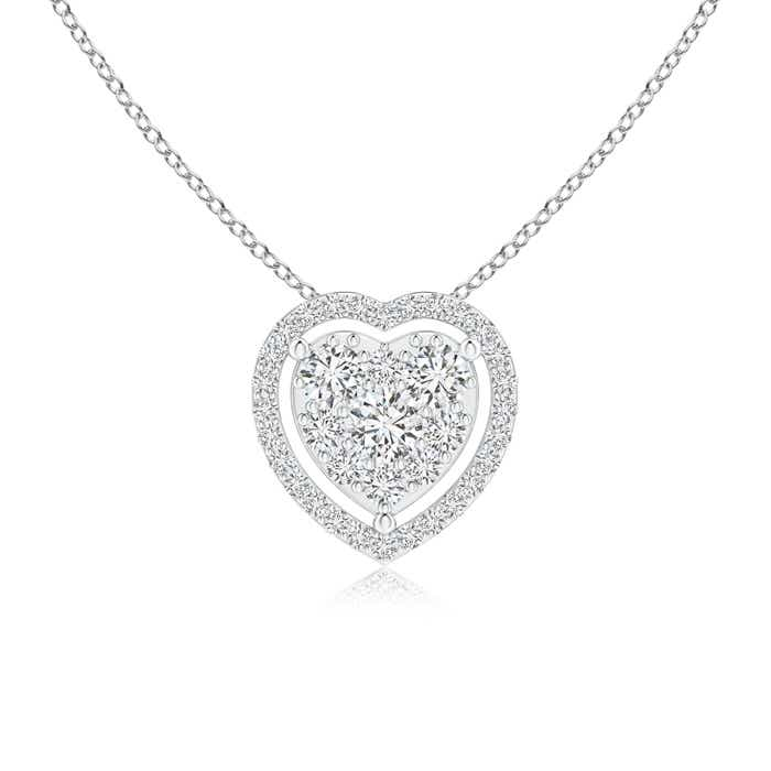 Angara Scattered Cluster Diamond Heart Halo Pendant