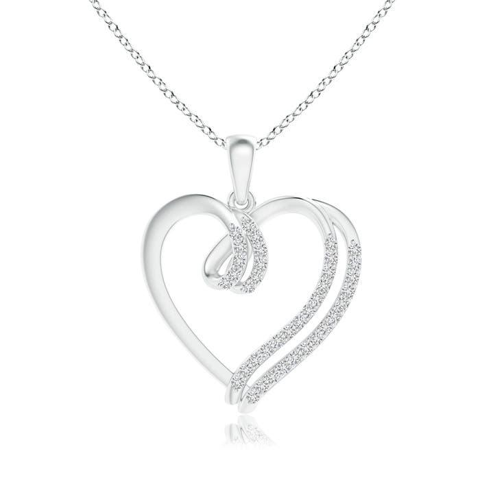 Angara Entwined Diamond Ribbon Heart Pendant WlTXkcR