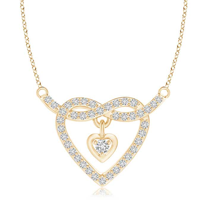 Angara Twin Heart Diamond Pendant in Two Tone Gold V3lKvOVy