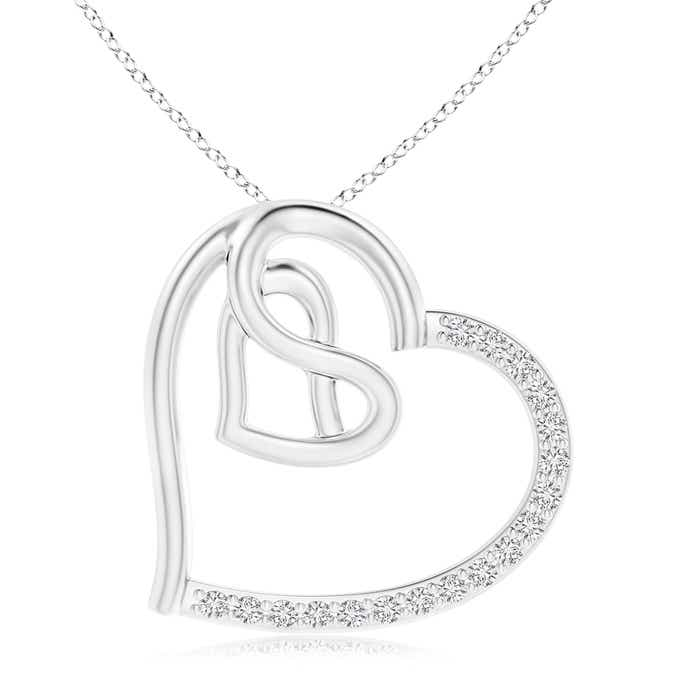 Angara Diamond Tilted Ribbon Heart Dangle Pendant 5hi5dmgk