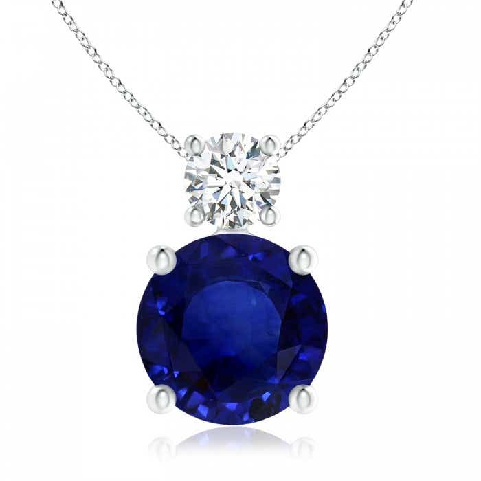 Angara Classic GIA Certified Sapphire Solitaire Pendant with Diamond FpvVW
