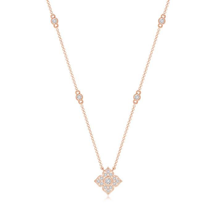 Angara Round Diamond Clover Station Necklace V7re2R