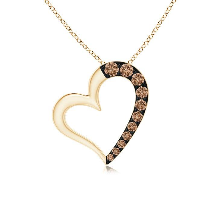 Angara Pave-Set Coffee Diamond Tilted Loop Heart Pendant iMfEKj