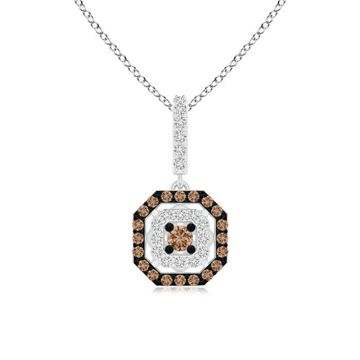Angara Coffee and White Diamond Clover Halo Pendant