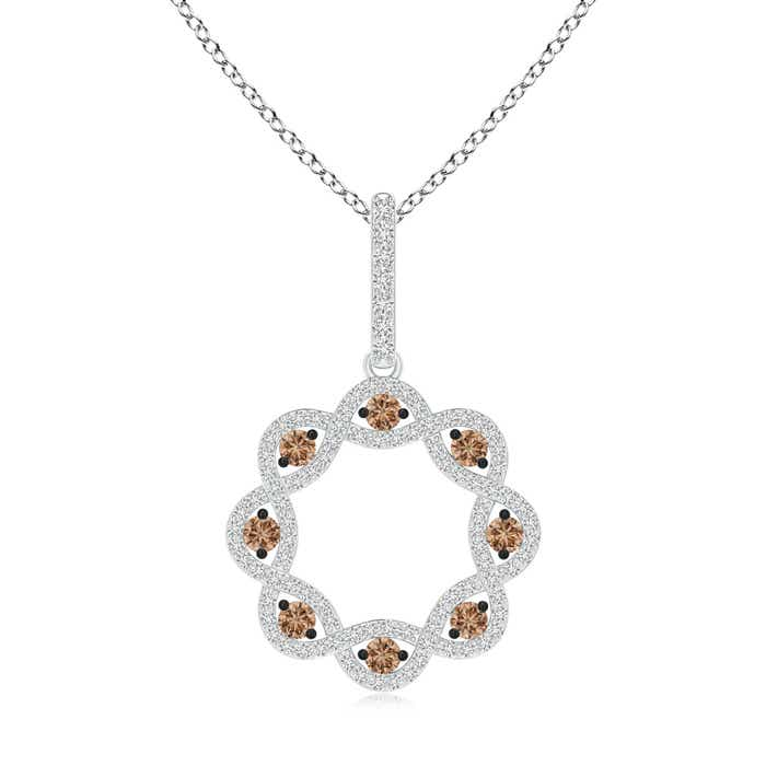Angara Brown and White Diamond Open Circle Eternity Pendant A1vIuT
