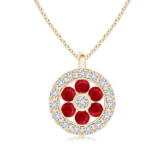 Angara Channel-Set Diamond Flower Pendant with Halo