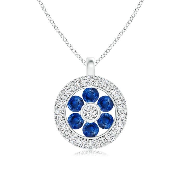 Angara Round Bezel-Set Sapphire Pendant with Diamond Halo 0LmV9NR