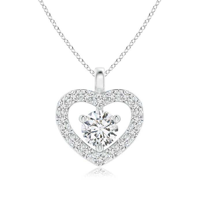 Angara Solitaire Diamond Open Heart Pendant with Accents 1YckvX