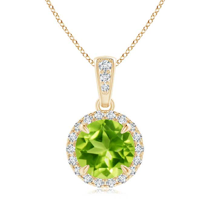 Angara Peridot Halo Pendant with Diamond Heart Motif 91ERB