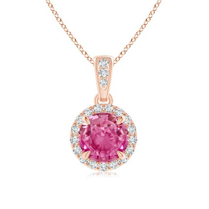 Angara Dangling Round Pink Sapphire and Diamond Halo Pendant in 14K Rose Gold lLJN27FKHc