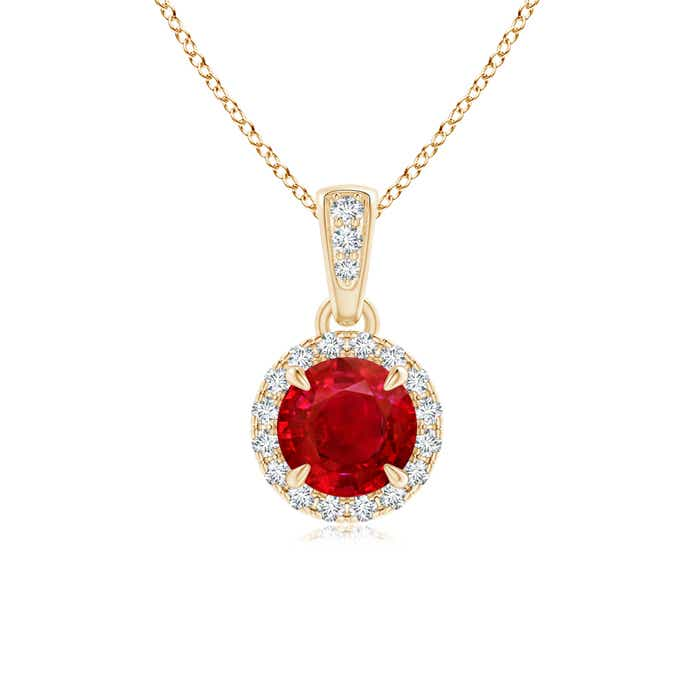Angara Claw-Set Round Ruby Pendant with Diamond Halo oE1mjj