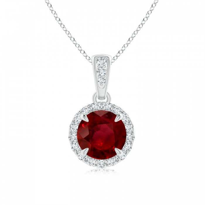 Angara Ruby Pendant - Claw-Set GIA Certified Ruby Clover Pendant with Diamond Halo xnVfl1j4e