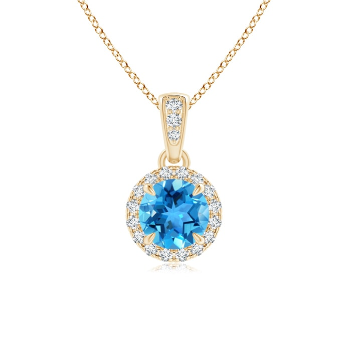 Angara Claw-Set Round Swiss Blue Topaz Pendant with Diamond Halo dnvi5Fvl