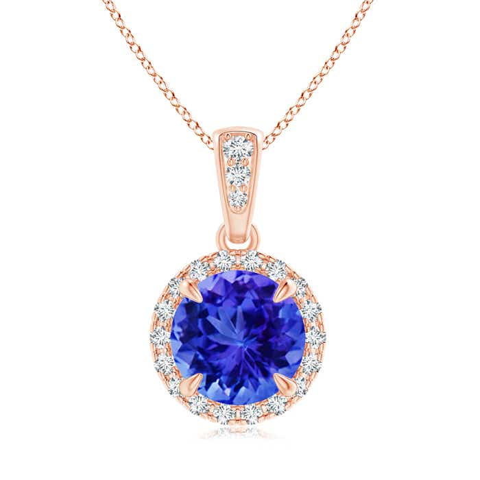 Angara Diamond Tanzanite Pendant in Rose Gold 2e3QT