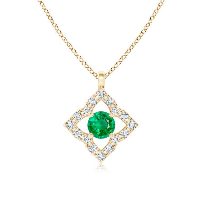 Angara Classic Emerald Six Petal Flower Pendant ST8Y7VyqVP