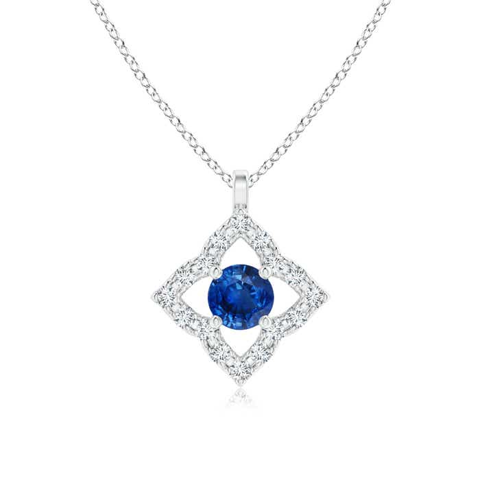Angara Womens Blue Sapphire Pendant in Rose Gold