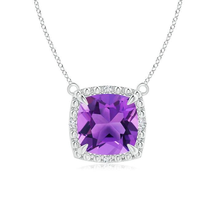 Angara Claw-Set Cushion Amethyst Beaded Halo Necklace hLlO5