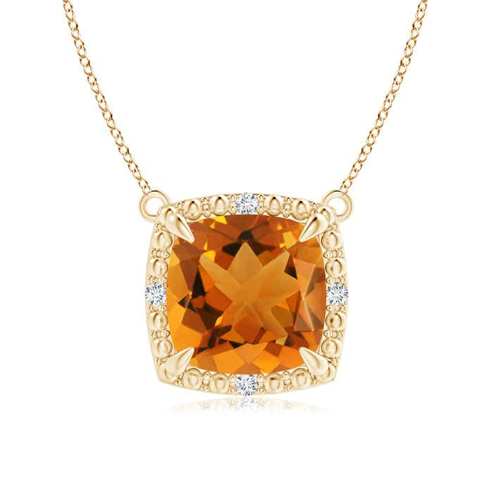 Angara Vintage Inspired Cushion Citrine Halo Pendant