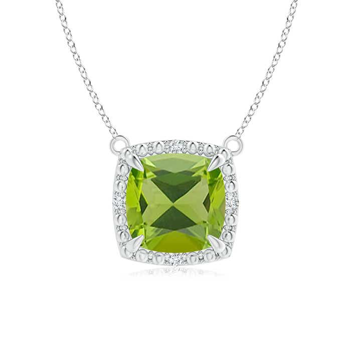 Angara Claw-Set Cushion Peridot Beaded Halo Necklace rjHYGvpR