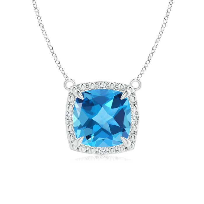 Angara Cushion Swiss Blue Topaz Pendant with Diamond Leaf Bale