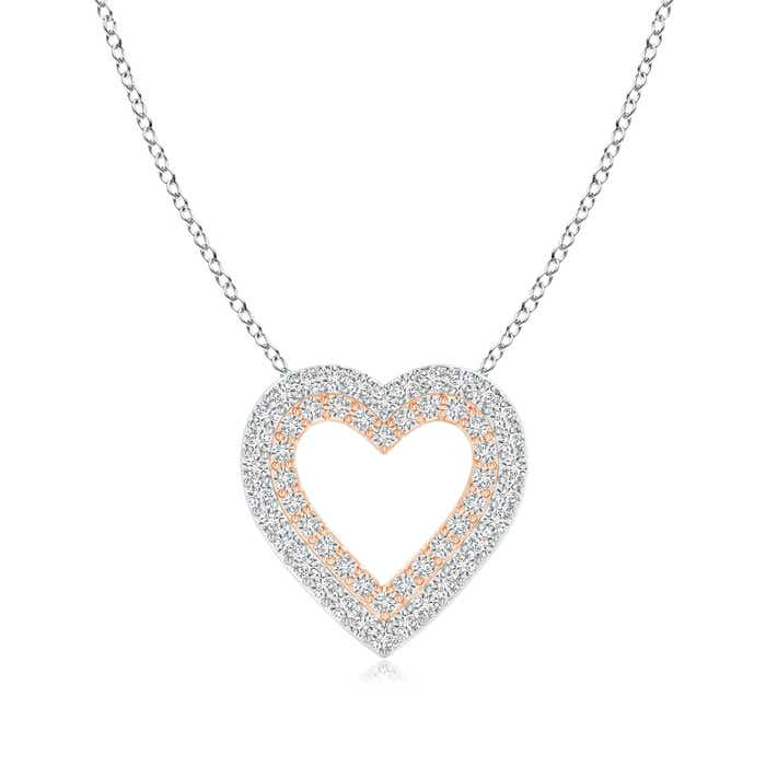 Angara Prong-Set Diamond Interlocking Twin Heart Pendant 17mb3U