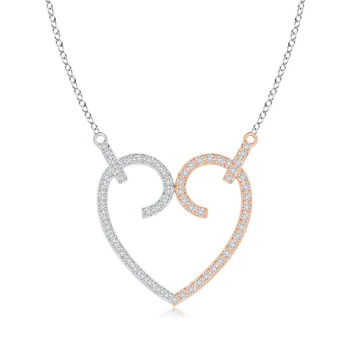 Angara Diamond Heart Arrow Pendant Necklace 4X0yZ66HDE