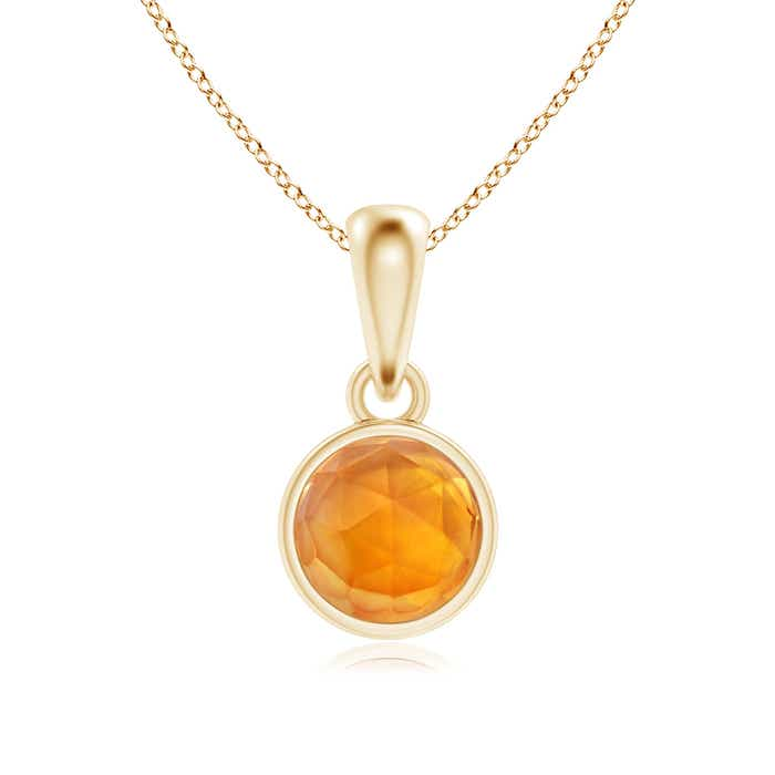 Angara Bezel-Set Citrine Necklace in Yellow Gold Y0mg2US