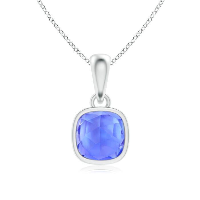 Angara Rectangular Cushion Sapphire Infinity Pendant WQ7cNSHAg