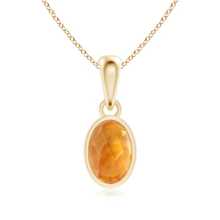 Angara Solitaire Citrine Necklace Pendant in Yellow Gold ptBFNXXLh