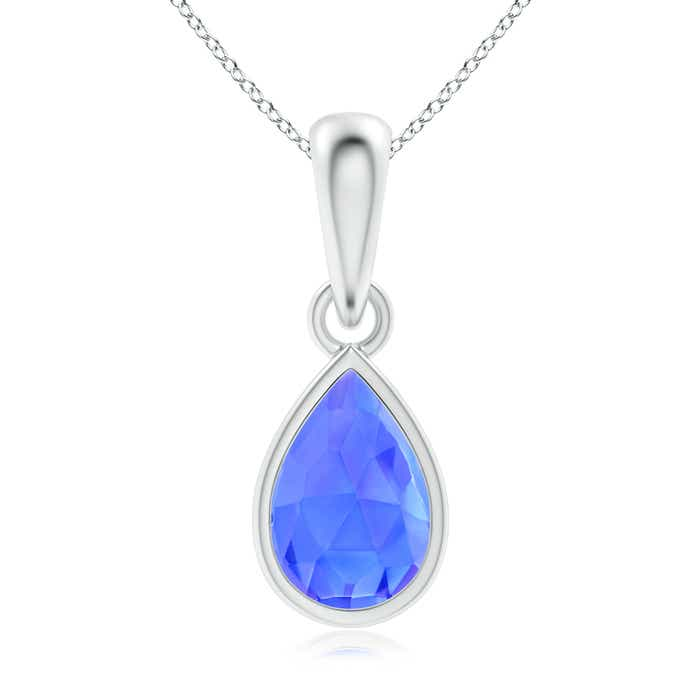 Angara Solitaire Pear-Shaped Tanzanite Flame Pendant