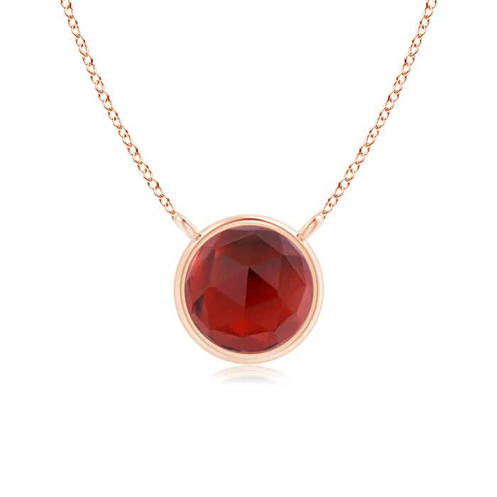 Angara Round Garnet Solitaire Necklace in Yellow Gold SeMCD5a