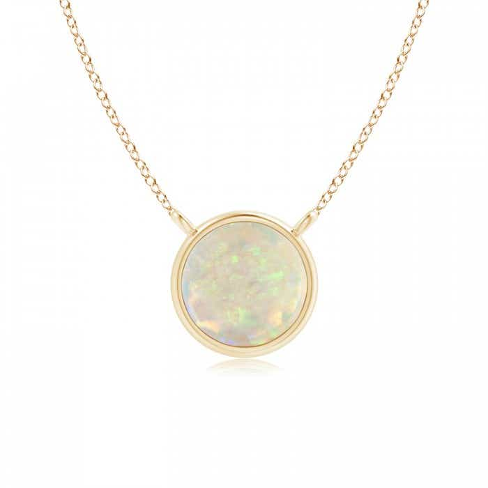 Angara Round Opal Necklace for Women in White Gold G8LyNHMnq