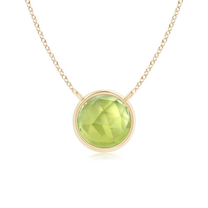 Angara Round Peridot Solitaire Necklace in Yellow Gold yLzdIbiXf6
