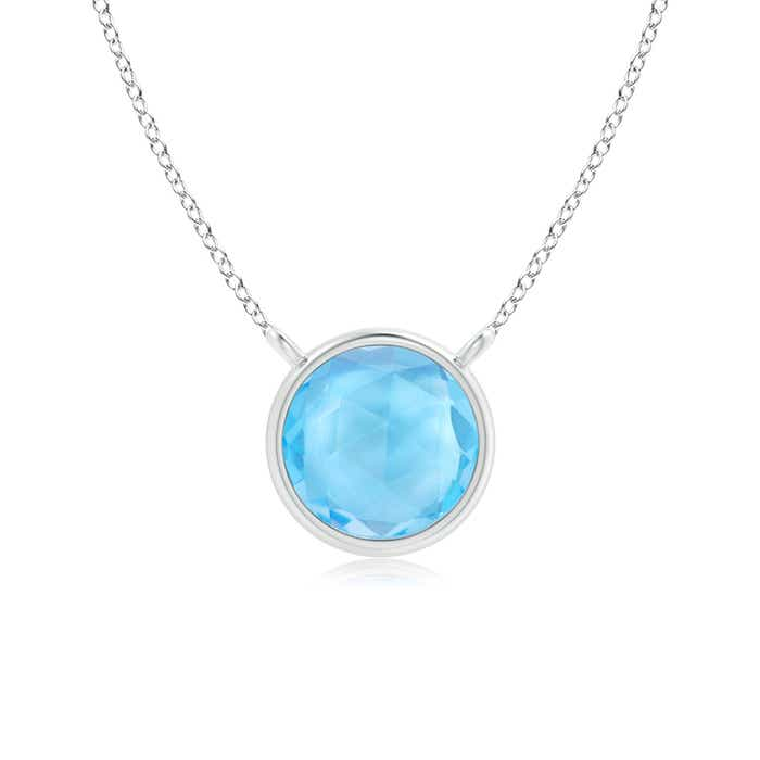 Angara Swiss Blue Topaz Solitaire Necklace in Rose Gold