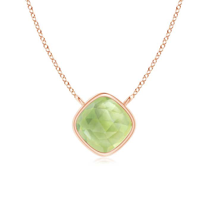 Angara Solitaire Peridot Necklace in Yellow Gold eYad6Ko