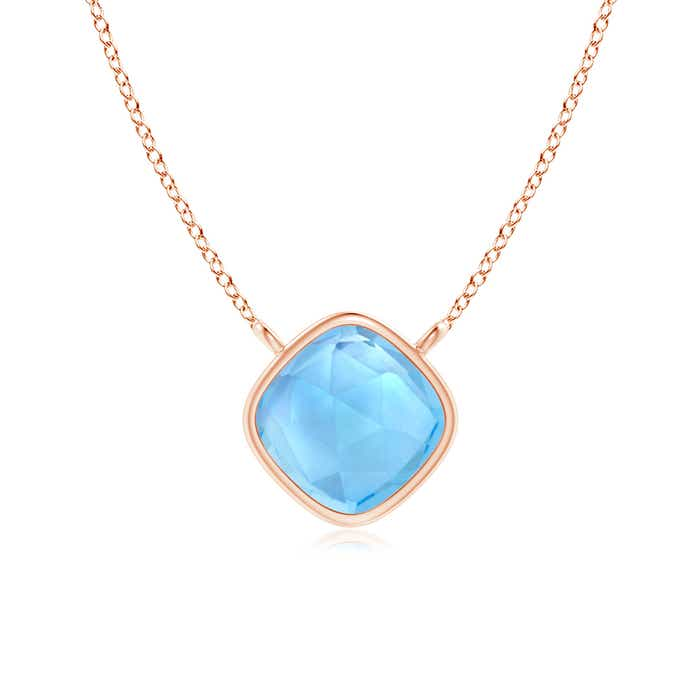 Angara Bezel-Set Swiss Blue Topaz Necklace for Women in White Gold